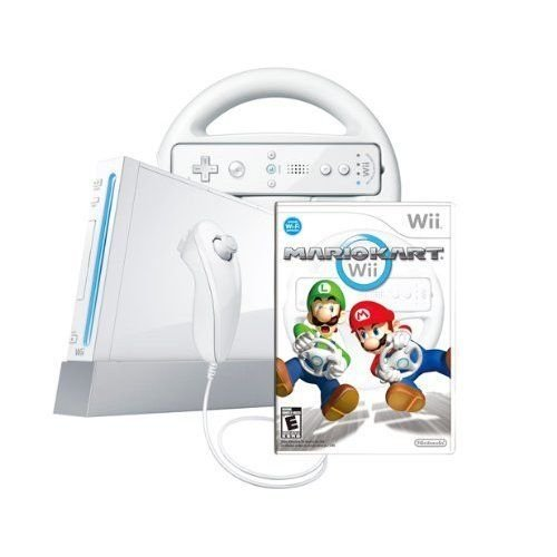 Wii Console With Mario Kart Wii Bundle White Very Good 8Z