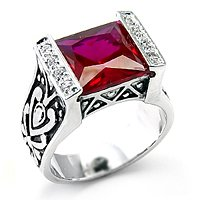 Ruby CZ, Rosette Setting / Size 8