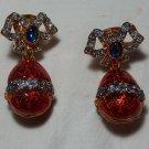 Guilloche Enamel and Rhinestone Drop Earrings