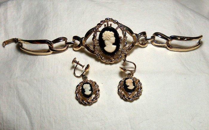 Vintage Cameo Bracelet and Earrings