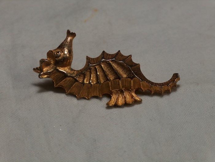 Signed Roma Seahorse Brooch