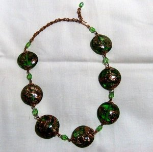 Vintage Intense Green Aventurino Glass Necklace