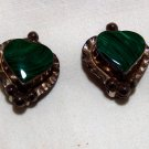 Vintage Sterling Silver/Malachite Heart Earrings