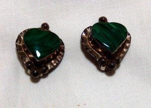 Vintage Sterling Silver/Malachite Heart Earrings