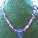 Handmade Beaded Necklace - Mauve
