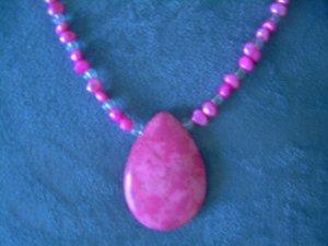 Handmade Beaded Necklace Fuchsia