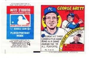 1979 Topps Test Issue Uncut Comic Baseball Wrapper George Brett Kansas CIty Royals