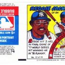 1979 Topps Test Issue Uncut Comic Baseball Wrapper Reggie Jackson New York Yankees