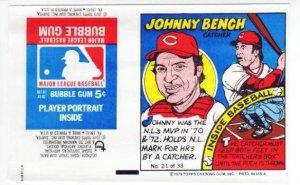 1979 Topps Test Issue Uncut Comic Baseball Wrapper Johnny Bench Cincinnati Reds