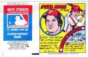 1979 Topps Test Issue Uncut Comic Baseball Wrapper Pete Rose Cincinnati Reds