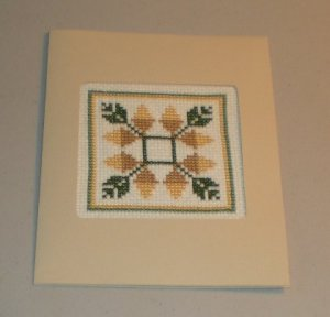 Acorn Sampler Cross Stitch Card