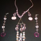 Pink Creamy Love Necklace & Earring Set