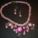 Pink Charm Necklace & Earring Set