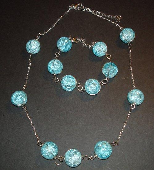 Blue Shattered Globe Necklace & Bracelet Set