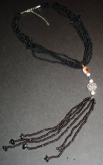 Black Beaded Strands Necklace
