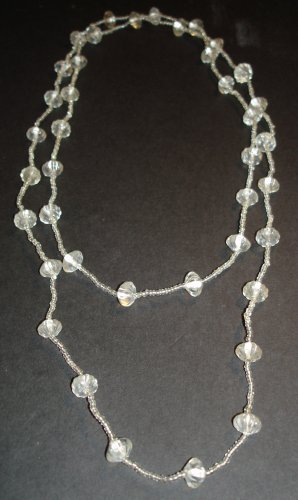 Clear Beaded Extra Long Necklace