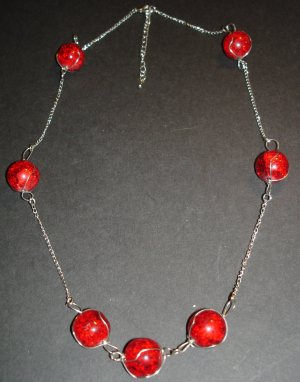 Shattered Red Globe Necklace
