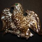 Silver Bird Brooch w/ Green Eye