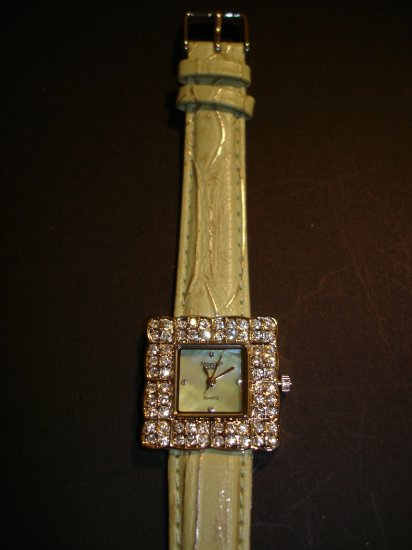 Green & Rhinestone Square Bling Watch