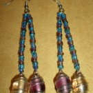 Blue & Purple Beaded Swirl Earrings
