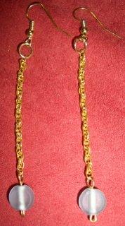 Gold & Blue Circle Dangle Earrings