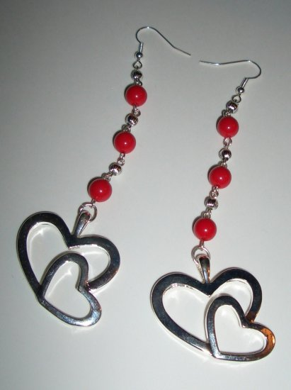 Red & Silver 2 Heart Earrings