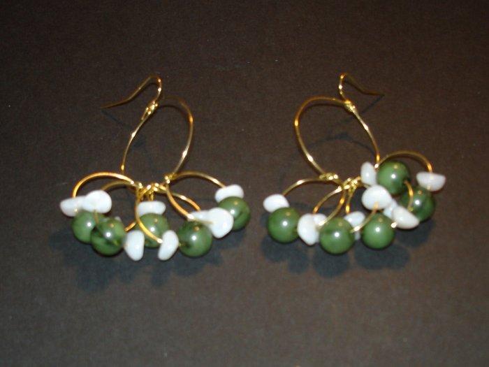 Gold & Green Chandelier Earrings