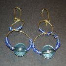 Gold & Blue Ocean Earrings