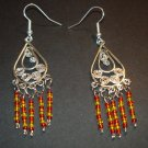 Silver Fire Gold Tribal Dangle Chandelier Earrings