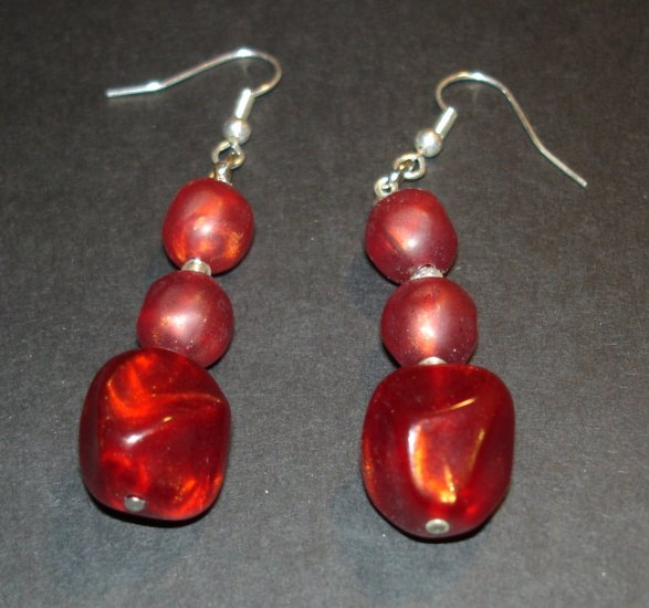 Red Velvet Beaded Earrings