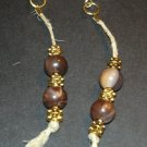 Gold & Brown Tribal Dangle Earrings