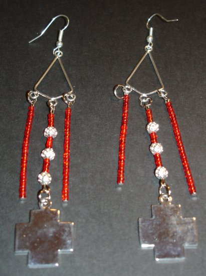 Red Vixen Chandelier Earrings