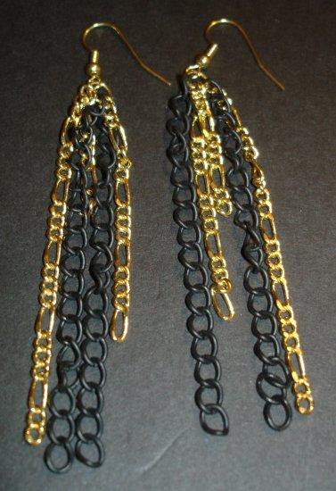 Gold & Black Dangle Chain Earrings