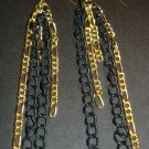 Gold & Black Dangle Chain Earrings