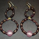 Purple Beaded Hoops Earrings