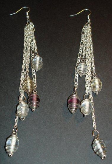 Silver Swirl Drop Chains Earrings