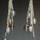 Silver Swirl Drop Chains Earrings