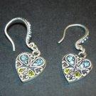 Silver Blue & Green Heart Earrings