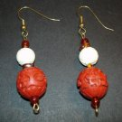 Red Craved Wood Earrings