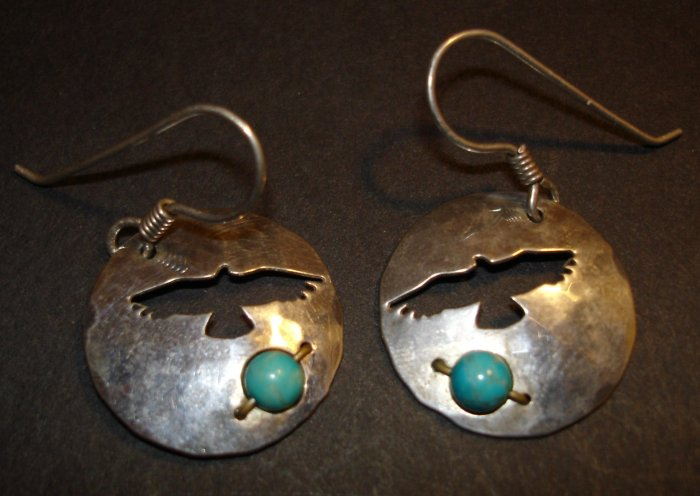 Silver & Eagle Turquoise Earrings