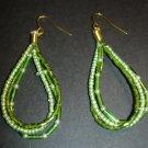 Green Beaded Strands Earrings