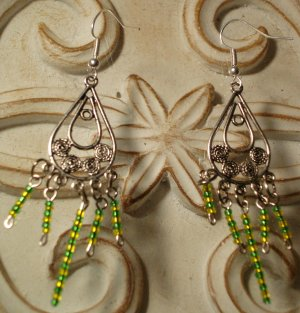 Green & Yellow Beaded Earrings