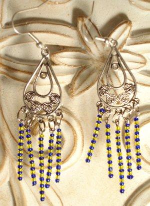 Blue & Yellow Dangle Earrings