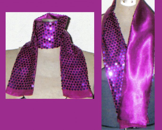 Sequined Chiffon & Satin Reversable Scarf