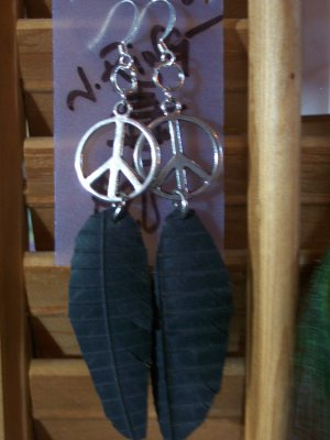 Recycled Peace Sign Feather Earrings