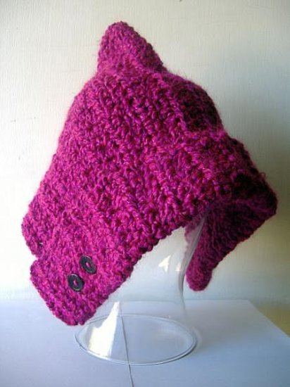 the pixie hat in bright magenta.