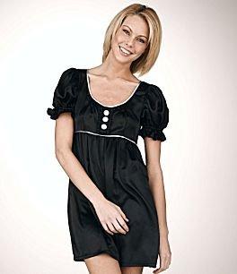 Johnny Martin Puff-Sleeve Charmeuse Dress-Size 11
