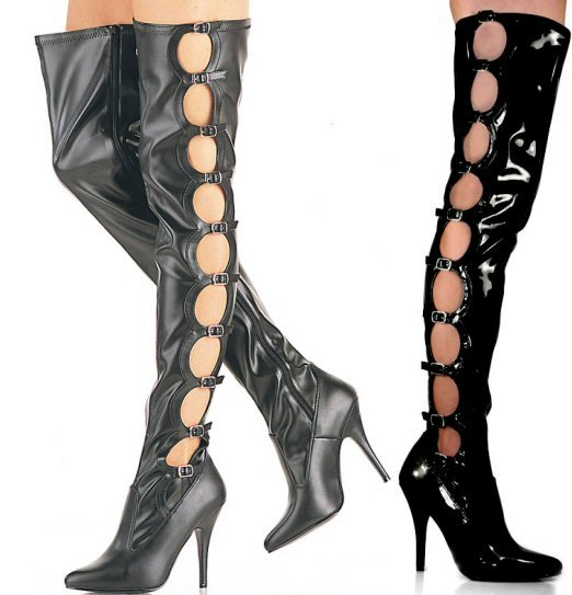 Seduce - Women's Thigh High Boots with Circle Cut Out Sides with Buckles