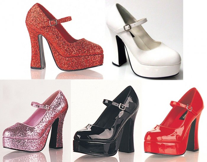 """Dolly"" - Women's Mary Jane Style Chunk Heel Pumps/Shoes"
