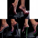 Neonlite - Clear Ankle Strap Platform Sandals with UV Reactive Trim